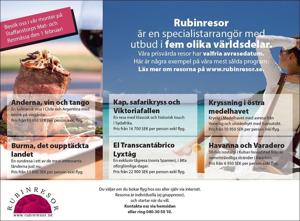 Rubinresor annons