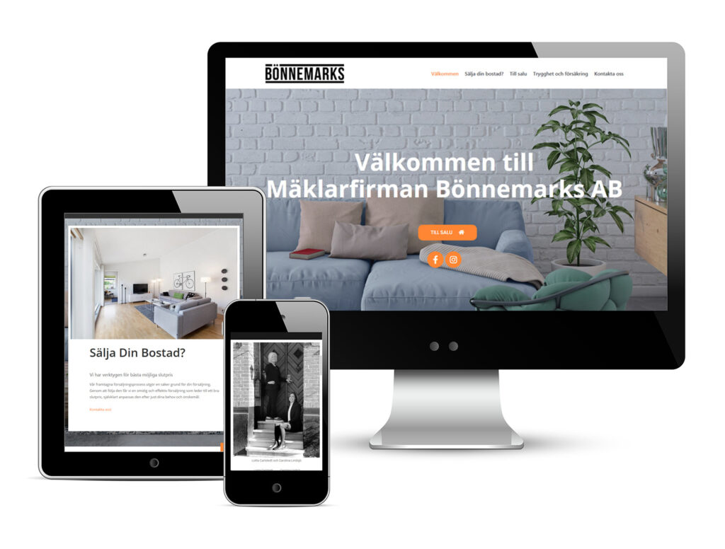Mäklarfirman Bönnemarks web